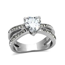 Stainless Steel 3 Prong Heart Shape Cubic Zirconia Engagement Ring - SIZ... - $11.69