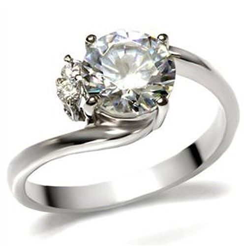 Stainless Steel 2 Carat Cubic Zirconia Engagement Ring - SIZE 5 - 10