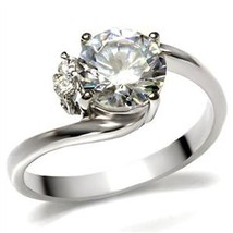 Stainless Steel 2 Carat Cubic Zirconia Engagement Ring - SIZE 5 - 10 image 1