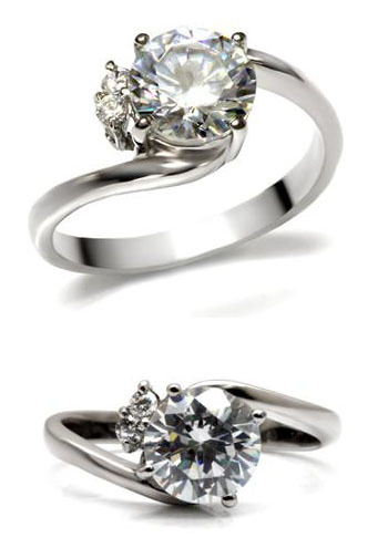 Stainless Steel 2 Carat Cubic Zirconia Engagement Ring - SIZE 5 - 10 image 2