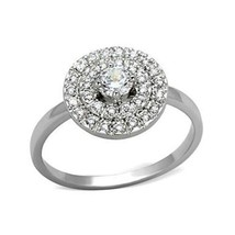 Silver Tone Pave Setting Cubic Zironia Engagement Ring - SIZE 5 - 9 - $15.23
