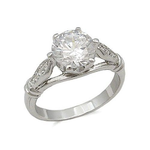 Silver Tone Round Cut Cubic Zirconia Engagement Ring - SIZE 7 - 10