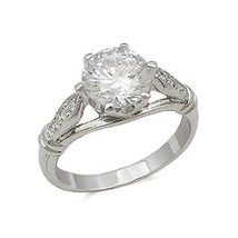 Silver Tone Round Cut Cubic Zirconia Engagement Ring - SIZE 7 - 10 image 1