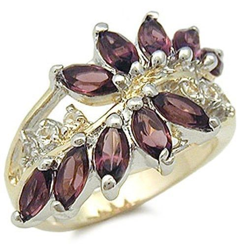Two Tone Amethyst Simulated CZ Right Hand Ring - SIZE 8 (last one)