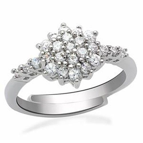 Silver Tone Flower Cluster Setting Cubic Zirconia Ring- SIZE 5 TO 10 ADJUSTABLE