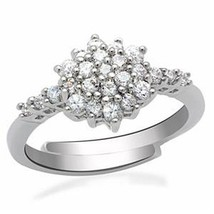 Silver Tone Flower Cluster Setting Cubic Zirconia Ring  Size 5 To 10 Adjustable - $17.86