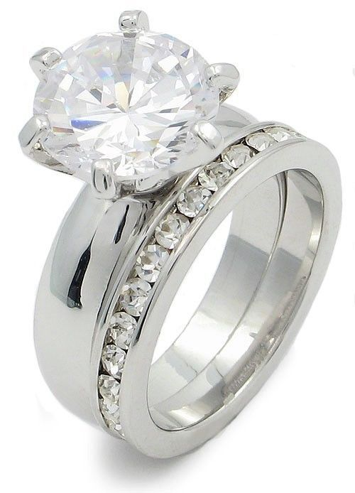 4.78 Carat Round Solitaire CZ Engagement & Wedding Rings - SIZE 7, 8
