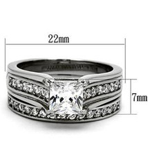 Stainless Steel Princess Cut 1 Carat CZ Engagement & Wedding Rings SIZE 5 - 10 image 2