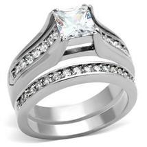 Stainless Steel Princess Cut 1 Carat CZ Engagement & Wedding Rings SIZE 5 - 10 image 3