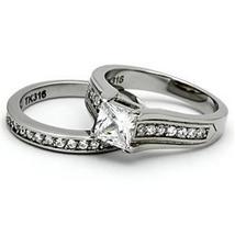 Stainless Steel Princess Cut 1 Carat CZ Engagement & Wedding Rings SIZE 5 - 10 image 4