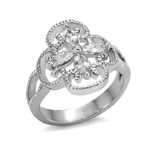 Stainless Steel Flower Design Cubic Zirconia Right Hand Ring - SIZE 7 (LAST ONE)