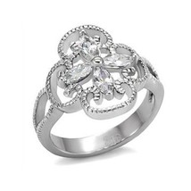 Stainless Steel Flower Design Cubic Zirconia Right Hand Ring - SIZE 7 (LAST ONE) image 1