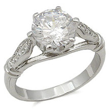 Silver Tone Round Cut Cubic Zirconia Engagement Ring - SIZE 7 - 10 image 2
