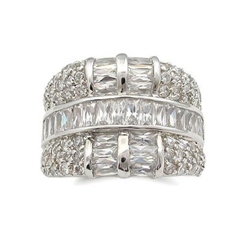 Fancy Silver Tone Baguette Cubic Zirconia Band Ring - SIZE 5, 6