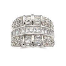 Fancy Silver Tone Baguette Cubic Zirconia Band Ring - SIZE 5, 6 image 1