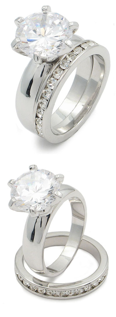 4.78 Carat Round Solitaire CZ Engagement & Wedding Rings - SIZE 7, 8 image 2