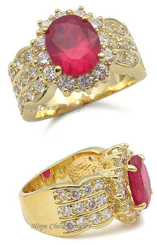 Gorgeous Gold Tone Oval Red Cubic Zirconia Ring - SIZE 7 (LAST 1, SOLD OUT)