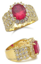 Gorgeous Gold Tone Oval Red Cubic Zirconia Ring - SIZE 7 (LAST 1, SOLD OUT) image 2