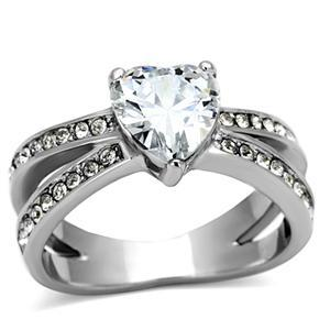 Stainless Steel 3 Prong Heart Shape Cubic Zirconia Engagement Ring - SIZE 5 - 10 image 2