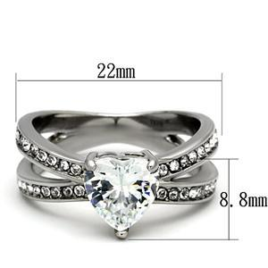 Stainless Steel 3 Prong Heart Shape Cubic Zirconia Engagement Ring - SIZE 5 - 10 image 3