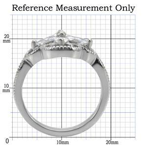 Stainless Steel Flower Design Cubic Zirconia Right Hand Ring - SIZE 7 (LAST ONE) image 2