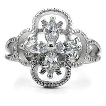 Stainless Steel Flower Design Cubic Zirconia Right Hand Ring - SIZE 7 (LAST ONE) image 3