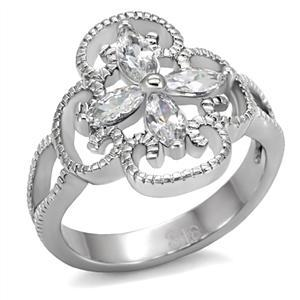 Stainless Steel Flower Design Cubic Zirconia Right Hand Ring - SIZE 7 (LAST ONE) image 4
