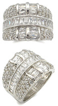 Fancy Silver Tone Baguette Cubic Zirconia Band Ring - SIZE 5, 6 image 2