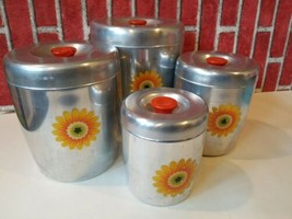 West Bend Canister Aluminum set 4 Yellow Orange flower Mid Century desig... - $38.48