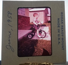 Young Boy Riding Tricycle June 1958 35mm Kodak Ready Mount USA Film Slide - $14.84
