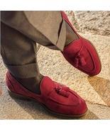 Decent Wear Handmade Red Tassels Loafer Suede Shoes - $158.99