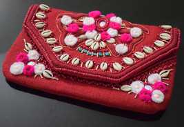 Red Evening Clutch, Party Bag, Party Clutch, Fashion Bags,Jute & Pom pom... - $35.00
