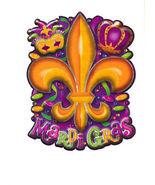 Mardi Gras 3 D Cutout Metallic Decor 6 pc XLG  20 X 15 Crown Mask Fleur ... - $28.49