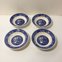 "4 Rimmed Fruit Desert Bowls Blue Willow 5.5"" - $19.34"