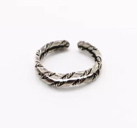 .925 Sterling Silver Adjustable Twisted Layered Toe Knuckle Ring Size 3 (1.3 g)