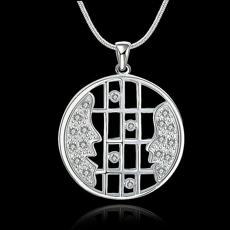 Primary image for Crystal Faces Round Pendant Necklace 925 Sterling Silver NEW