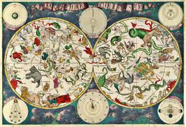 "23""x33.5"" Celestial map 1680 Frederik de Wit Zodiac Chart Astrological Art Print - $26.24"