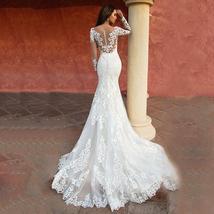 Custom Made Long Sleeve Vintage Lace Mermaid Wedding Gown