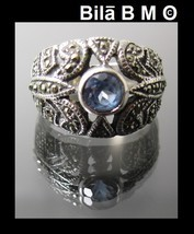 Vintage Genuine AQUAMARINE and MARCASITE Ring in STERLING Silver - Size ... - $90.00