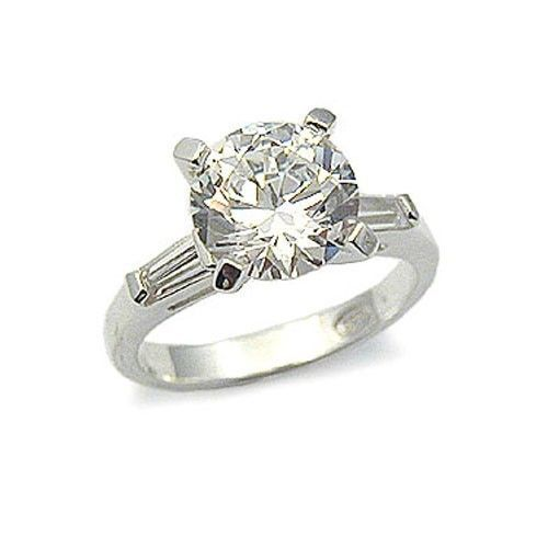 CZ ENGAGEMENT RING - 2 CT. Solitaire Cubic Zirconia Ring -SIZE 7, 8, 10