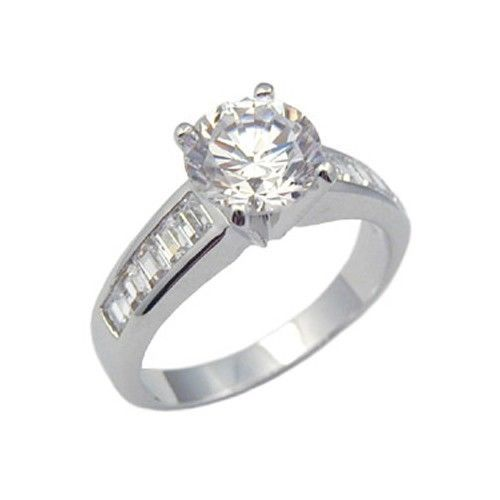 Silver Tone 2 CTS Solitaire with Baguette CZ Engagement Ring - SIZE 7 (last 1)