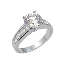 Silver Tone 2 CTS Solitaire with Baguette CZ Engagement Ring - SIZE 7 (last 1) image 1