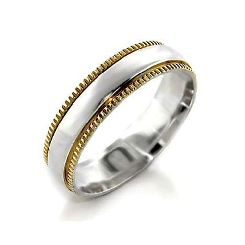 Women's 6mm Two Tone Sterling Silver Band Ring SIZE 7, 8