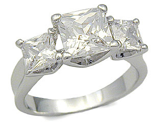 Three Stone Princess Cut Cubic Zirconia Engagement Ring - SIZE 9 (LAST ONE)