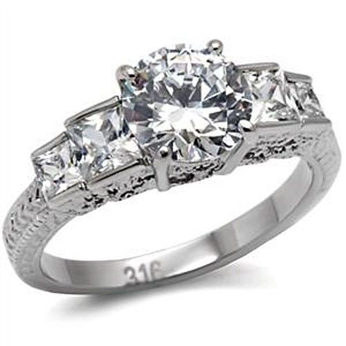 Antique Inspired Five Stone Cubic Zirconia Engagement Ring  - SIZE 5 to 10