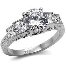 Antique Inspired Five Stone Cubic Zirconia Engagement Ring  - SIZE 5 to 10 image 1