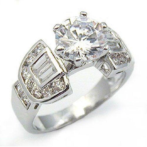 2.75 Carat Solitaire & Baguette Cubic Zirconia Engagement Ring - SIZE 5, 7,10