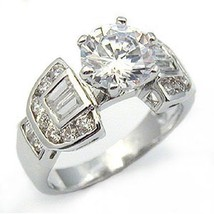 2.75 Carat Solitaire & Baguette Cubic Zirconia Engagement Ring - SIZE 5, 7,10 image 1