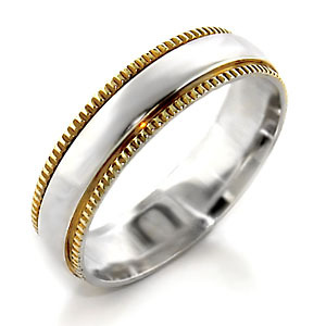 Women's 6mm Two Tone Sterling Silver Band Ring SIZE 7, 8 image 2