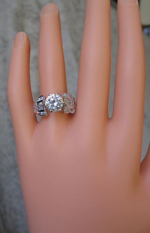 2.75 Carat Solitaire & Baguette Cubic Zirconia Engagement Ring - SIZE 5, 7,10 image 2